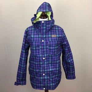 The North Face Blue Plaid Puffer Women's Ski Coat